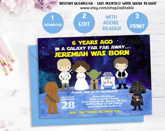 Galaxy wars invitation, Star Wars Birthday invitation, Boys invite, Children Invitation, INSTANT DOWNLOAD, Templates, Editable Invitation