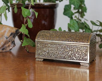 Small Vintage Brass Box, Brass Trinket Box, Brass Jewelry Box, Brass Treasure Box