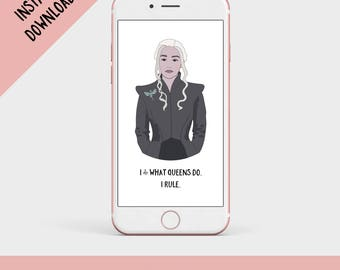 Game of Thrones Art, Game of Thrones Gift, Mother of Dragons, Daenerys, Printable Digital File
