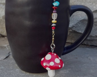 Mushroom Tea Infuser with Stone Dish - Handmade Tea Trinket Infuser - Red Spotted Mario Mushroom