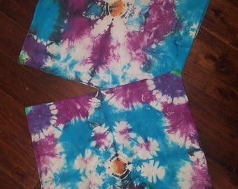 Set of 2 square pillowcases euro shams handmade tie dye turquoise purple mandala flower 24x24 #110