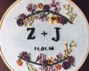 Customizable Hand Embroidered Wedding Anniversary Date With Initials or Names