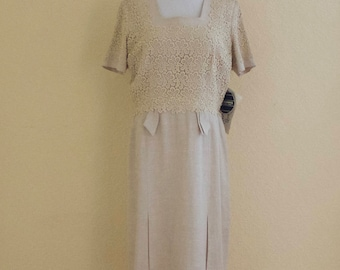 1950's oatmeal linen dress - unworn with tags still attached