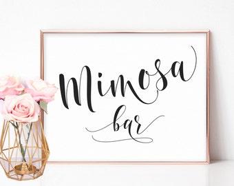 Mimosa Bar Sign, Mimosa Sign, Bridal Shower Signs, Mimosa Bar Printable, Bachelorette Party Signs, Bridal Shower Decorations, Wedding Signs