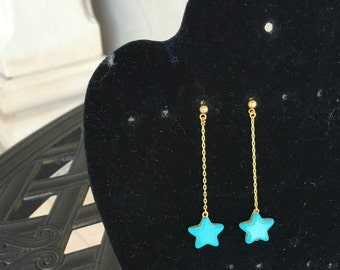 Turquoise  Stars  Chain  Earrings by Dobka