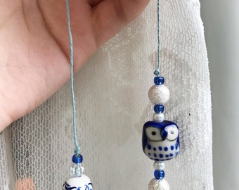 Blue Book Charm - owl, read, royal blue, silver, white, beads, twine, iridescent, bookmark, book thong, beaded, cute