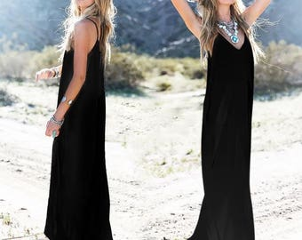 UK New Summer Black Womens Dress Casual Loose Split Long Maxi Beach Long Dresses 6-16