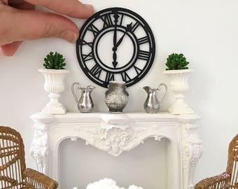 Miniature clock - black wooden wall clock - Dollhouse - Diorama - Roombox - 1:12 scale