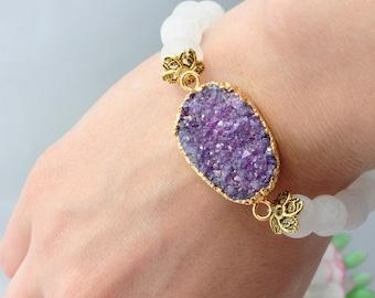 Bohemian Jewelry Bohemian Bracelet Mineral Bracelet Druzy Bracelet Geaode Bracelet White Bracelet Purple Stone Bracelet White Agate Bracelet