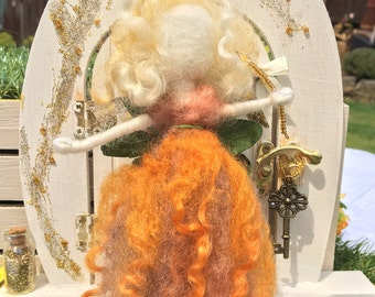 Handmade Orange Flower Needle Felted Wool Fairy