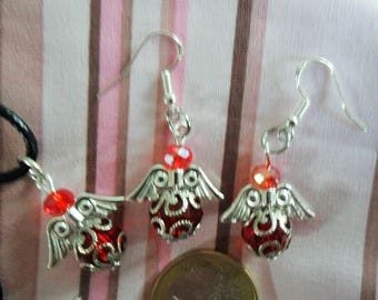 Set earrings pendants Angels - Red Crystal beads - approximately 3 cms