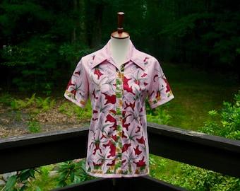 Groovy Hawaiian 60s/70s Shirt Jane Colby, Size M