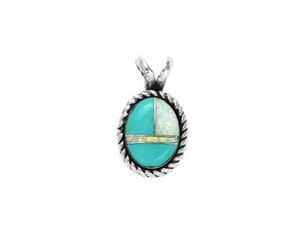 Inlay Turquoise & Opal Oval Pendant