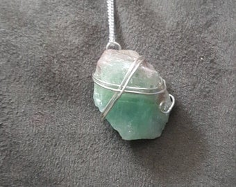 Green Calcite Wire Wrapped Necklace