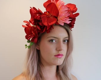 Red Pink Orchid Frida Flower Crown Headdress Festival Headpiece Fascinator
