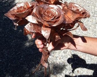 Copper Rose Bouquet // handmade wedding bouquet// personalised // wading gift // Valentine gift // gift for her // copper anniversary 7th