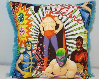 Lucha Libre luxury pillow cover with blue fringe