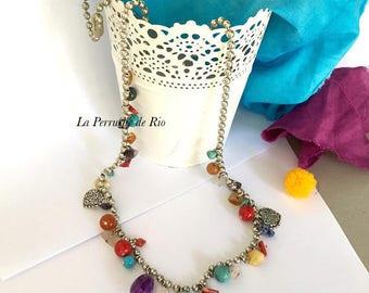 "Necklace Bohemian chic ethnic ""Chandernagor … memories"" charms semi precious stones"