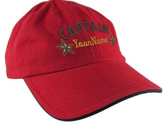 Personalized Captain Stars Your Name Embroidery Adjustable Red Black Unstructured Low Profile Dad Hat with Option to Personalize the Back