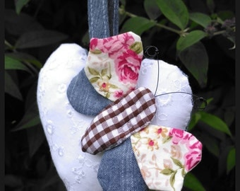 Stuffed hanging Heart decoration, applique butterfly, recycled and new fabric, baby shower decor, gift
