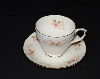Vintage, DUCHESS Bone China, Teacup and Saucer, Glen Pattern 316, England, delicate spray of dainty pink, blue flowers Shower, Wedding Gift