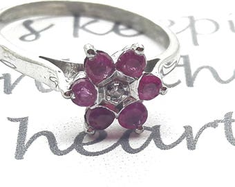 Ruby and Diamond Chip Sterling Silver Ring/Vintage Ruby Flower Ring/Free Shipping US/ July Birthstone/ Christmas/Anniversary/Valentine