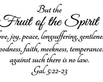 The Fruit of the Spirit Bible verse/Inspirational vinyl wall decal/Love, joy, peace wall art/Galations 5 verse/Fancy script wall lettering