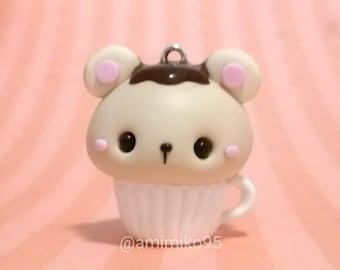 Cupcake de ratón en taza kawaii