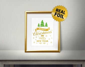 Merry Christmas &, Happy New Year, Real Gold Foil Print, Gold Wall Art, Two Color Foil, Christmas Wall Decor, Special Gift, Ornament