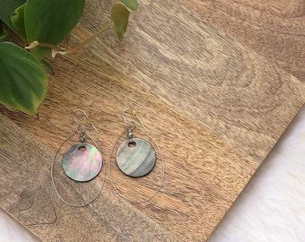 vintage capiz shell dangle earrings | jewelry