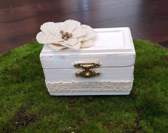 Rustic Wedding Ring Box - Antique Look - Lace - Flower Accent