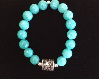Turqoise colored Agate, sterling silver beaded bracelet