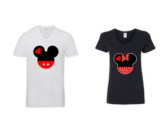 Valentine Gifts Disney Mickey Minnie Mouse Heads COUPLE Printed Adult V Neck Shirts Unisex  VNeck T-Shirts for Men Women Matching Clothes