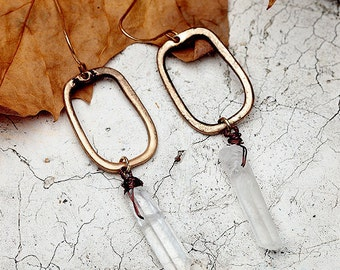 Natural Stone Quartz Crystal Earrings