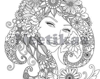 Floral lady - Adult Coloring Page - Flower Coloring Page - Printable Coloring Page - Digital Download