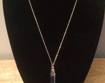 Dainty Gold Chain Necklace with Clear Quartzite Pendant
