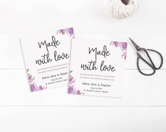 Square Violet Floral Personalized Wedding Favors Tags Printable, Wedding favor Tags Template, Watercolor gift tag,Editable Wedding favor Tag