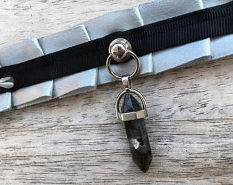 Kitten play Collar / Bdsm Choker / pet play /Grey and black with crystal pendant / DDLG / SUB/ DOM / adult / one of a kind