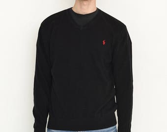 VINTAGE Black V-Neck RALPH LAUREN Retro Sweater