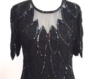90s black sequin and bead top