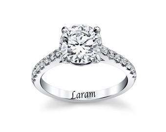 14K white Gold  1 carat cubic zirconia   center stone with Diamond side  stones Engagment ring