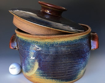 Large Stoneware Ceramic Pottery Blue and Purple Cooking Pot with Lid and Handles