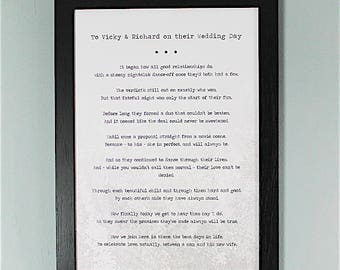 Bespoke, Personalised Wedding Poem/Reading - Printed and Framed A4 40 Lines