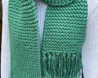Chunky Knit Turquoise Scarf with Tassels