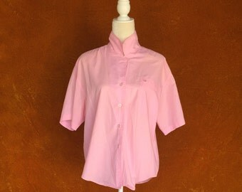 Vintage 1980s Pink Short Sleeve Blouse
