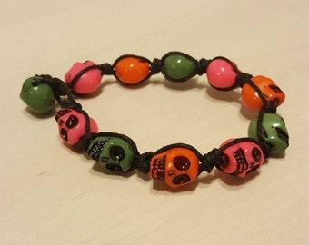 Green, Pink & Orange Skull Bead Bracelet