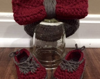 Baby Headband with Bow and Slippers/ Custom Colors Available!