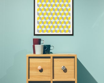 Yellow and Grey Geometric Framed Poster