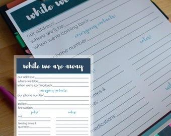 Housesitter Notes Printable