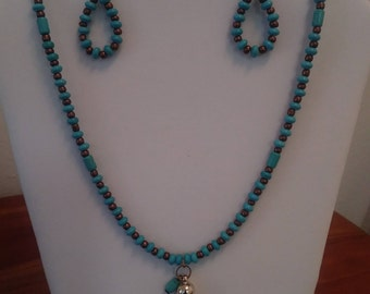 Long Turquoise & Brown Necklace with Tassel and Earrings